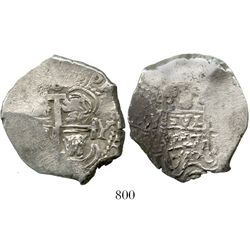 Potosi, Bolivia, cob 8 reales, 1717Y. S-P43a; KM-31; CT-877. 27.3 grams. Double-struck pillars with