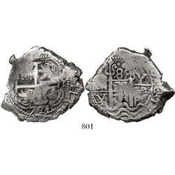 Potosi, Bolivia, cob 8 reales, 1721Y, rare. S-P43a; KM-31; CT-881. 25.1 grams. Curious coin with ver