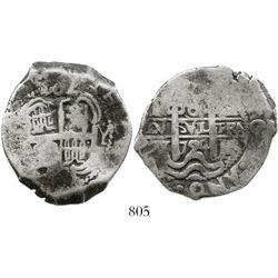 Potosi, Bolivia, cob 8 reales, 1724Y, rare. S-P43a; KM-31; CT-884. 26.1 grams. Bold pillars-and-wave