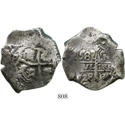 Potosi, Bolivia, cob 8 reales, 1728M. S-P44; KM-31; CT-826. 25.4 grams. Decent pillars with bold den