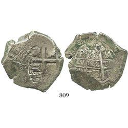 "Potosi, Bolivia, cob 8 reales, 1733YA, ex-""Americas"" collection, rare. 26.6 grams."