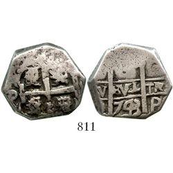 Potosi, Bolivia, cob 8 reales, 1743C. S-P49; KM-31a; CT-843. 15.9 grams. Curiously cut down around t