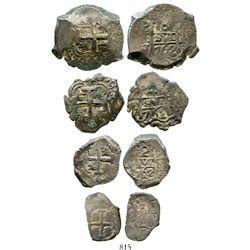 Potosi, Bolivia, partial denomination set of 8-4-2-1 reales of 1762V-Y. S-P57; KM-45; CT-949. 49.2 g