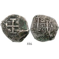 Potosi, Bolivia, cob 8 reales, 1763V-Y. S-P57; KM-45; CT-950. 27.1 grams. Bold full pillars with ful