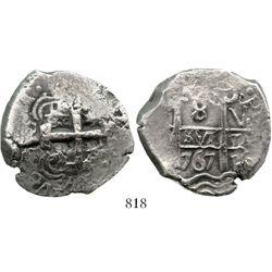 Potosi, Bolivia, cob 8 reales, 1767V-(Y). S-P57; KM-45; CT-954. 23.9 grams. Bold pillars, waves, dat
