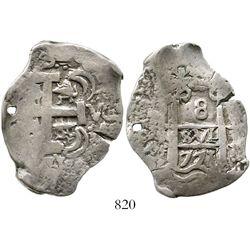 Potosi, Bolivia, cob 8 reales, 1771V-Y. S-P59; KM-45; CT-962. 26.5 grams. Urn-shaped flan of typical