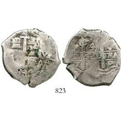 Potosi, Bolivia, cob 4 reales, 1683V. S-P39; KM-25; CT-510. 13.4 grams. Good full pillars with 2 ass