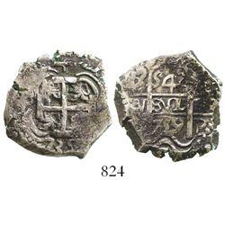Potosi, Bolivia, cob 4 reales, 1739M. S-P47; KM-30a; CT-1122. 13.0 grams. Full cross and pillars, 2