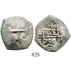 Potosi, Bolivia, cob 4 reales, 1750E. S-P51; KM-39; CT-437. 10.6 grams. Bold pillars (good date and