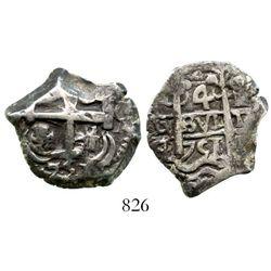 Potosi, Bolivia, cob 4 reales, 1751q/E, rare. S-P52; KM-39. 12.8 grams. Good full pillars with bold