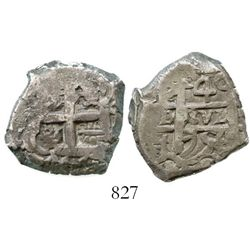 Potosi, Bolivia, cob 4 reales, 1756q. S-P54; KM-39; CT-447. 13.0 grams. Typically crude strike on ch