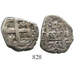 Potosi, Bolivia, cob 4 reales, 1763V-Y. S-P57; KM-44; CT-1156. 10.3 grams. Bold date and denominatio