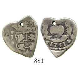 Guatemala, cob 2 reales, 1751J. S-G1a; KM-10; CT-456. 6.4 grams. Excellent Fine+ specimen on a curio