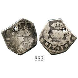 Guatemala, cob 2 reales, 1751J. S-G1a; KM-10; CT-456. 6.2 grams. Full and bold date below full pilla