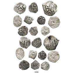 Mixed lot of ten 2R, 1R and 1/2R cobs, various mints, Philip IV to Ferdinand VI.  22.7 grams total.