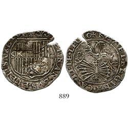 Seville, Spain, 4 reales, Ferdinand-Isabel, mintmark S to left of shield, assayer Gothic D above yok