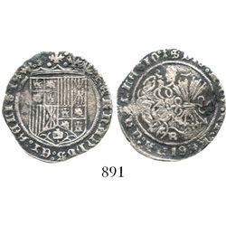 Burgos, Spain, 1 real, Ferdinand-Isabel, mintmark B below yoke-and-arrows, ermine at end of reverse