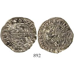 Seville, Spain, 1 real, Ferdinand-Isabel, single dots flanking shield (unlisted), mintmark S to left