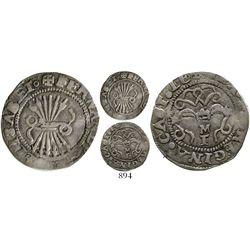 Toledo, Spain, 1/2 real, Ferdinand-Isabel, assayer M above mintmark T below yoke. CT-494. 1.6 grams.