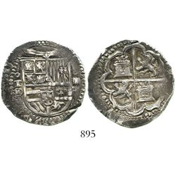 Toledo, Spain, cob 4 reales, Philip II, assayer M-in-circle. CT-414. 13.6 grams. Superb full shield