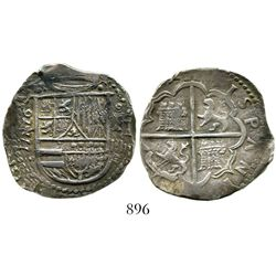 Valladolid, Spain, cob 4 reales, Philip II, 1592F, date on both obverse (to left of shield) and reve