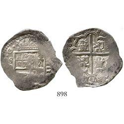Seville, Spain, cob 4 reales, Philip III, 1613(?)D. CT-272; KM-33.4. 13.6 grams. Good full cross-lio