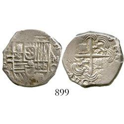 Granada, Spain, cob 2 reales, Philip III, assayer M above mintmark G to right, OMN(IVM) in obverse l