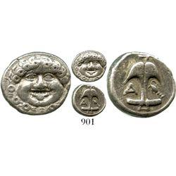 Appolonia, Pontika, AR drachm, 450-400 BC. SNG BMC 160. 2.9 grams. Facing gorgoneion / Upright ancho