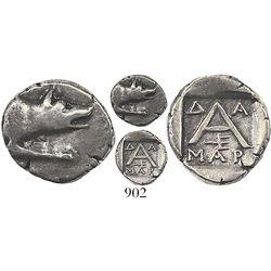 Argolis, Argos, AR triobol, 125-80 BC, magistrate Damar-. BCD Peloponnesos 1145. 2.3 grams. Forepart