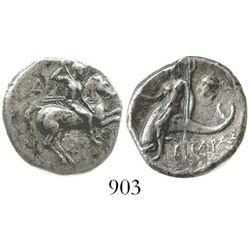 Calabria, Tarentum, AR nomos, circa 272-240 BC, magistrate Aristokle. Vlasto, 877-881; SNG ANS 1202.