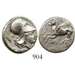 Corinthia, Corinth, AR stater, ca. 345-307 B.C. Pegasi 382; Ravel 1064; BCD Corinth 125. 8.4 grams.