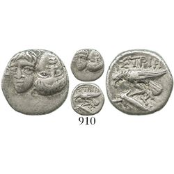 Moesia, Istros, AR 1/5 stater, 4th century BC. SNG BM 234v. 1.4 grams. Facing male heads, the left o
