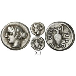 Mysia, Prokonnesos, AR hemidrachm, 411-387 BC, rare. SNG von Aulock 1437; SNG Copenhagen 551; SNG De