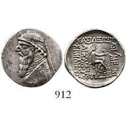 Kings of Parthia, AR drachm, Mithradates II. 121-91 BC, Rhagai mint. Sellwood 27.1; Shore 85; Sear 7
