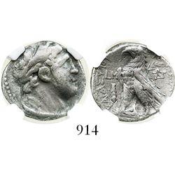 Phoenicia, Tyre, 1/2 shekel, Melkart, 126/5 BC-65/6 AD, encapsulated NGC Ch F. BMC 133 var.  Laureat