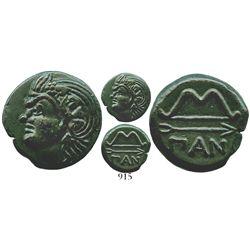 Thrace, Pantikapaion, AE 19, 325-304 BC. SNGBM Black Sea 894; MacDonald 116/1. 5.8 grams. Head of sa