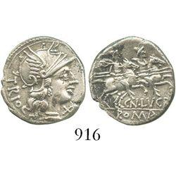 Roman Republic, AR denarius, moneyer Cn. Lucretius Trio, Rome mint (136 BC). Crawford 237/1a; Sydenh