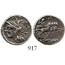 Roman Republic, AR denarius, moneyer Lucius Appuleius Saturninus. Rome mint (104 BC). Sear 193; Craw