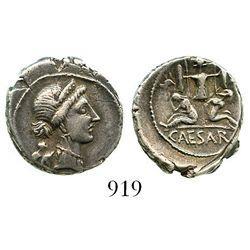 Roman Republic, AR denarius, Julius Caesar, military mint traveling with Caesar in Spain (late 46 to