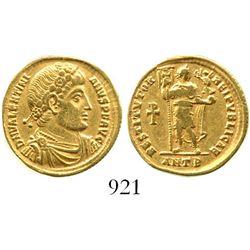 Roman Empire, AV solidus, Valentinian I, 364-375 AD, Antioch mint, struck 364 AD. RIC IX 2b; Depeyro