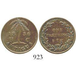 Antigua, copper 1 farthing, 1836. KM-Tn1. 4.2 grams. Deep brown VF, no problems. Actually a private