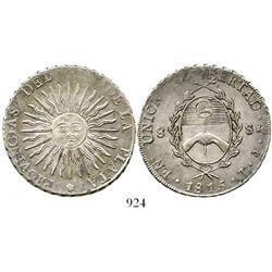 Argentina (Potosi), 8 soles, 1815FL. KM-15. 26.5 grams. AU with traces of original luster, crude rim