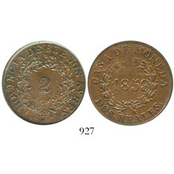 Argentina (Buenos Aires), copper 2 reales, 1853, encapsulated ANACS AU 50. KM-9.  Pleasing red-brown
