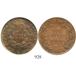 Argentina (Buenos Aires), copper 2 reales, 1861, encapsulated ANACS scratched / AU 50 details. KM-11