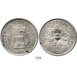 Argentina (Cordoba), 8 reales, 1852, broken-die variety (very rare). KM-32. 26.1 grams. Choice AU