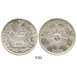 Argentina (Cordoba), 4 reales, 1852. KM-31. 13.5 grams. Very lightly toned AU, good strike, die-crac