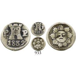 Argentina (Cordoba), 1/4 real, 1839P-P, Type III.  Janson-7.1.1; KM-2.2. 0.7 gram. More refined styl