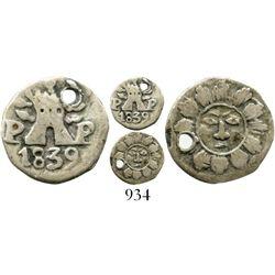 Argentina (Cordoba), 1/4 real, 1839P-P, Type IV, very rare.  Janson-10.1.2; KM-2.2. 0.7 gram. Bold d