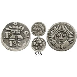 Argentina (Cordoba), 1/4 real, 1839P-P, Type VII. Janson-11.2.1; KM-2.2. 0.8 gram. Choice VF+ with b