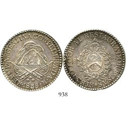 Argentina (La Rioja), 8 reales, 1838R. KM-8. 26.7 grams. Richly toned AU with hint of luster, small